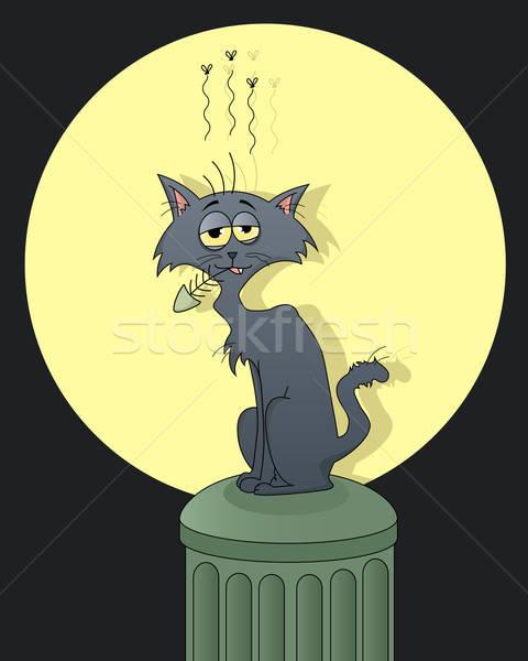 Utca macska vicces rág hal csont Stock fotó © ayelet_keshet
