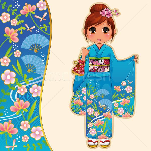 Kimonó lány manga áll virág mosoly Stock fotó © ayelet_keshet