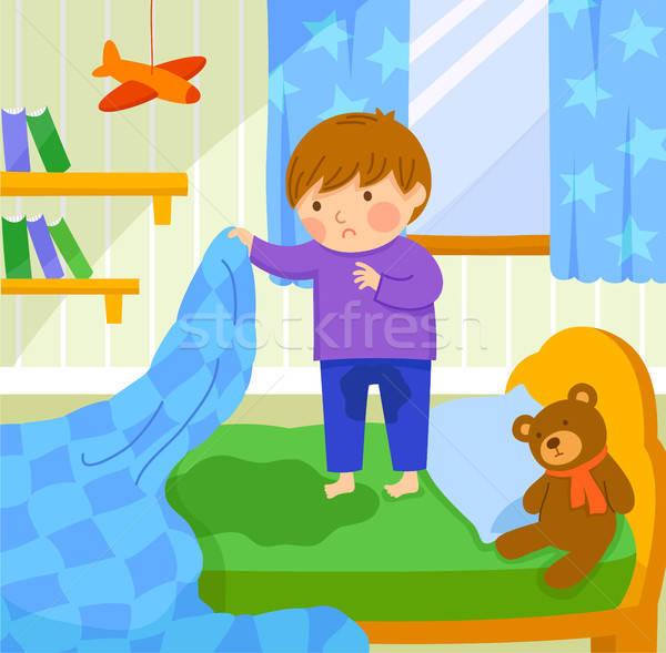 ベッド 少年 外に ぬれた おもちゃ ストックフォト © ayelet_keshet