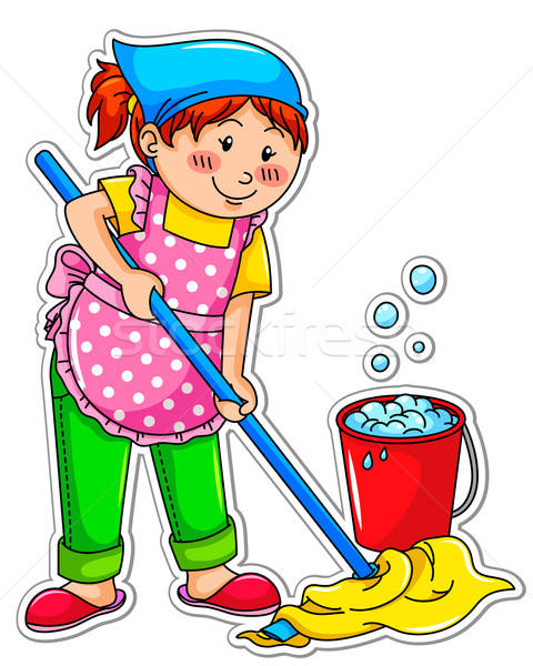 Schoonmaken meisje gelukkig meisje wassen vloer vrouw Stockfoto © ayelet_keshet