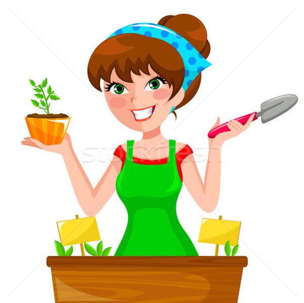 Meisje jonge vrouw kruiden gelukkig tuin Stockfoto © ayelet_keshet