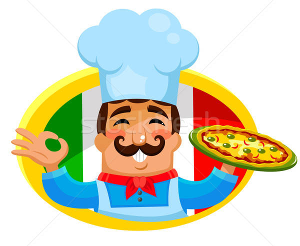 Italiaans chef plaat pizza man Stockfoto © ayelet_keshet