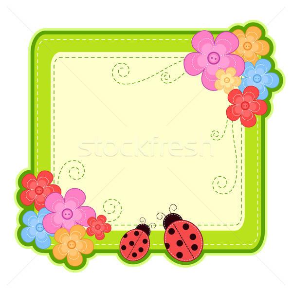 Uğur böceği çerçeve çiçekler bahar doğa Stok fotoğraf © ayelet_keshet