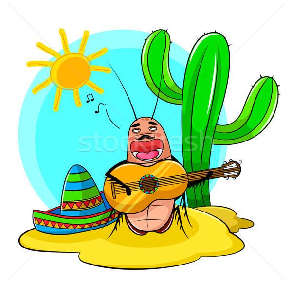 şarkı söyleme hamamböceği Meksika oynama gitar güneş Stok fotoğraf © ayelet_keshet