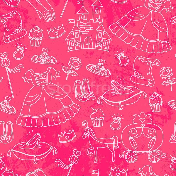 Princesa padrão coisas crianças rosa Foto stock © ayelet_keshet