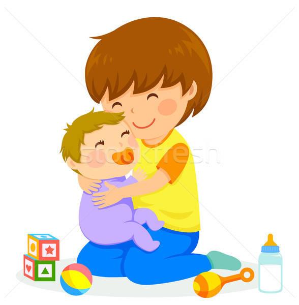 Fiú baba kicsi ölel mosoly gyermek Stock fotó © ayelet_keshet