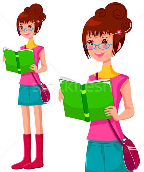 読む 少女 眼鏡 図書 笑顔 子 ストックフォト © ayelet_keshet