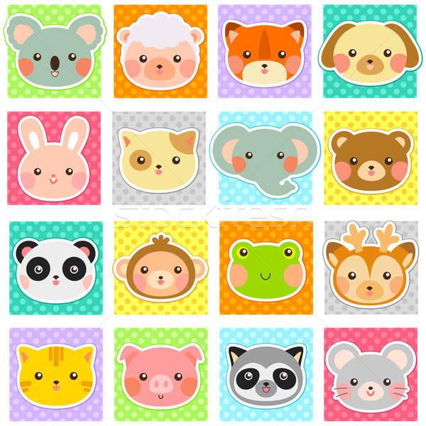 動物 コレクション かわいい動物 ポルカ 点在 パターン ストックフォト © ayelet_keshet