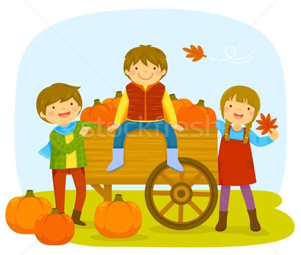 Kids in a pumpkin patch Stock photo © ayelet_keshet