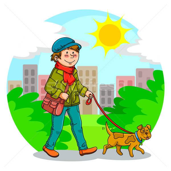 Caminhada cão menino parque feliz urbano Foto stock © ayelet_keshet
