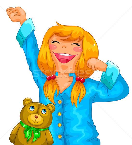 女の子 パジャマ ストレッチング 幸せ 子 ストックフォト © ayelet_keshet