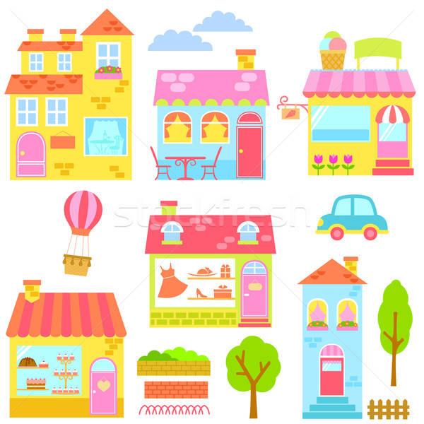 Kleurrijk gebouwen collectie huizen winkels ander Stockfoto © ayelet_keshet