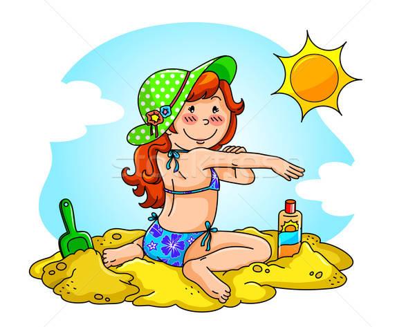 Nap elleni védelem lány tengerpart jelentkezik napozókrém bőr Stock fotó © ayelet_keshet