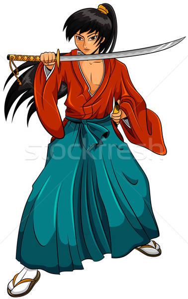 Cartoon самураев Манга стиль изолированный белый Сток-фото © ayelet_keshet