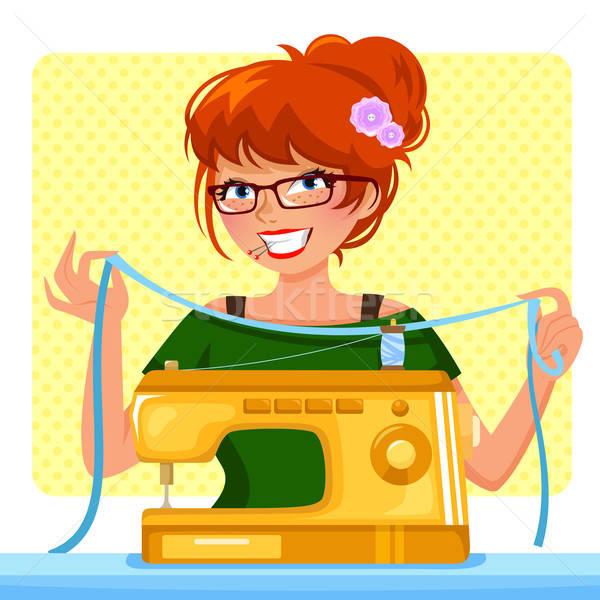 Meisje naaimachine vrouw gelukkig werk bril Stockfoto © ayelet_keshet