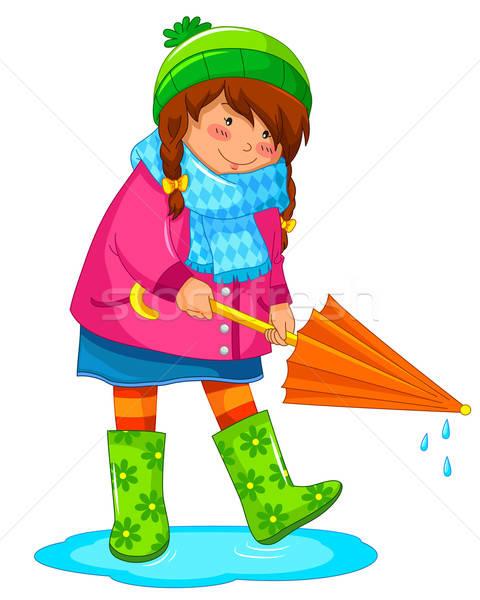 雨の 日 少女 傘 立って 水たまり ストックフォト © ayelet_keshet