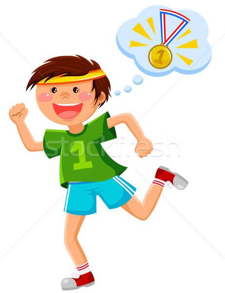 Ambitieus runner jongen lopen denken gouden Stockfoto © ayelet_keshet