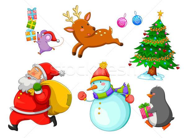 Christmas cartoons ingesteld boom gelukkig muis Stockfoto © ayelet_keshet