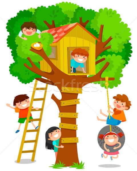 árvore casa crianças jogar feliz ovos Foto stock © ayelet_keshet