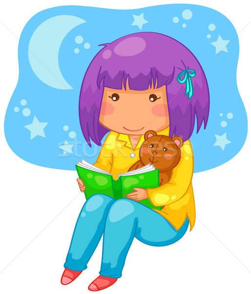Cuento nina lectura libro noche nina Foto stock © ayelet_keshet