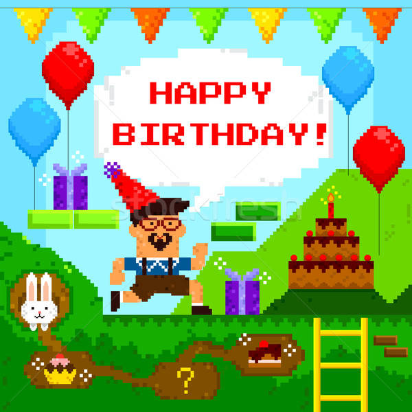 pixel game birthday card Stock photo © ayelet_keshet