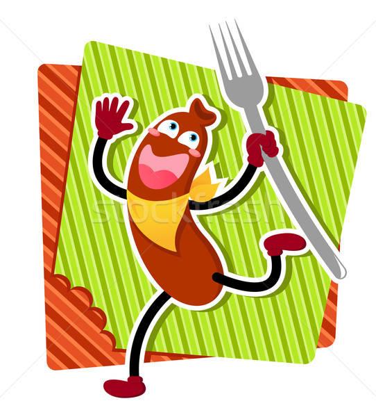漫画 ソーセージ 幸せ を実行して フォーク 食品 ストックフォト © ayelet_keshet