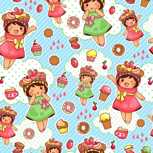 Feliz doce padrão bonitinho meninas Foto stock © ayelet_keshet