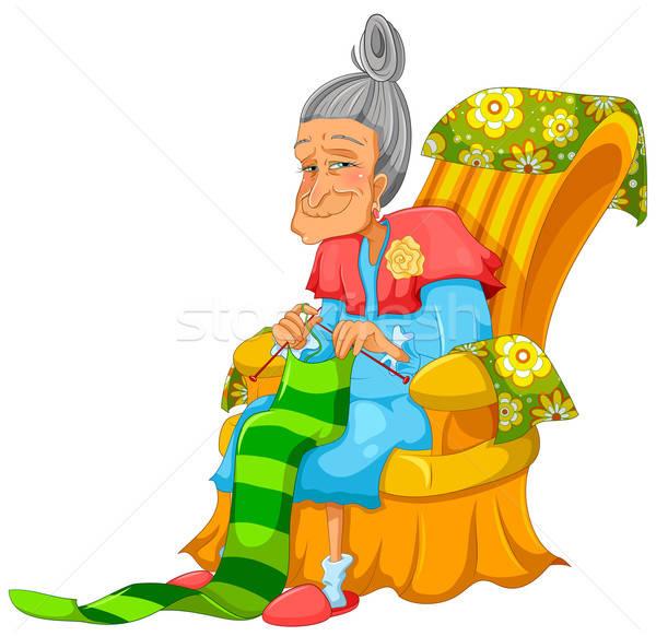 Oma oude dame gelukkig gelukkig stoel Stockfoto © ayelet_keshet