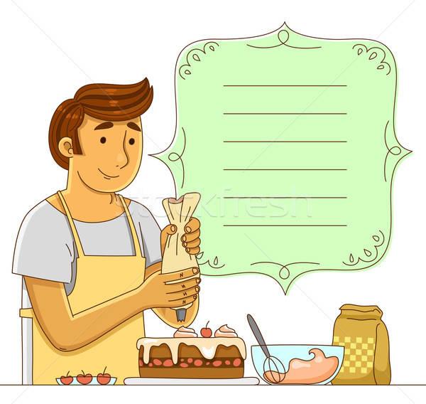 ストックフォト: 男 · ケーキ · 装飾された · フレーム · 食品