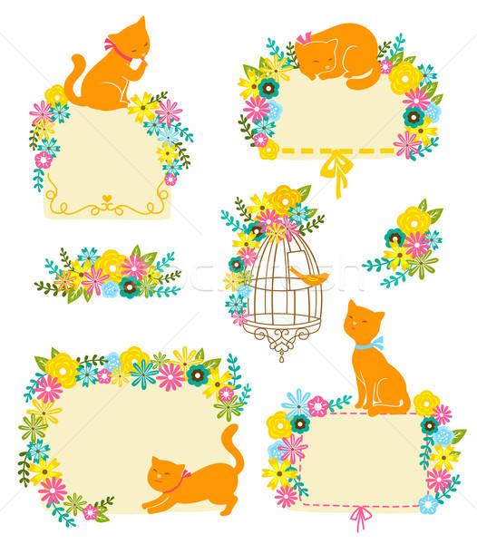 猫 花 コレクション ラベル 装飾 幸せ ストックフォト © ayelet_keshet