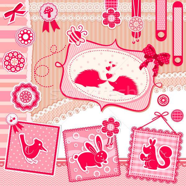 Scrapbook set cute design elementi animali Foto d'archivio © ayelet_keshet
