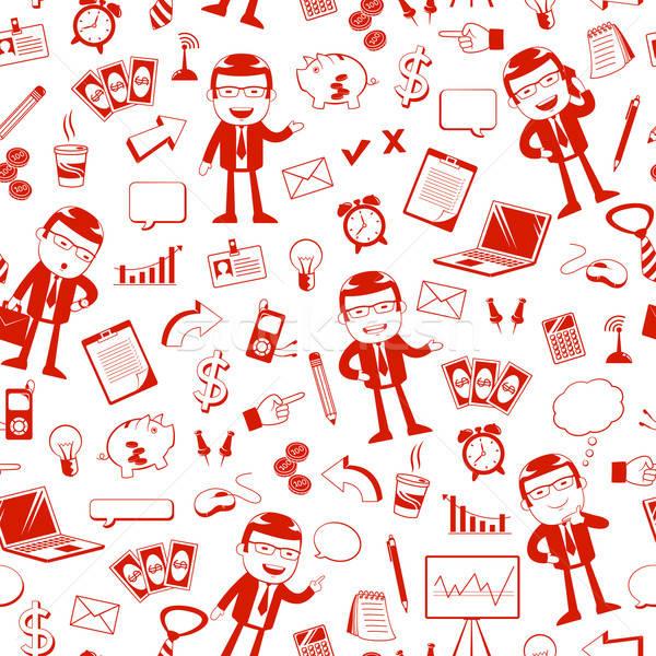 Stock fotó: üzlet · minta · végtelen · minta · ikonok · számítógép · pénz