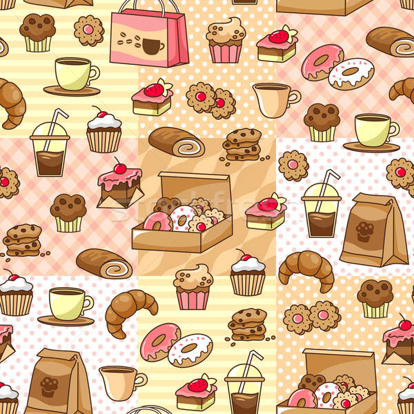 coffee and cakes pattern Stock photo © ayelet_keshet