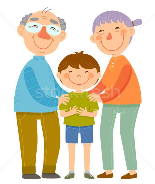 Großeltern Enkel glücklich stehen Lächeln Mann Stock foto © ayelet_keshet