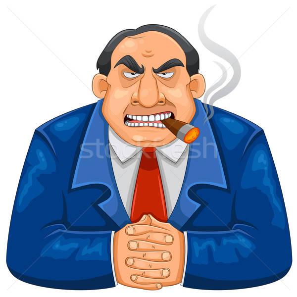 Twardy szef bogate palenia cygara patrząc Zdjęcia stock © ayelet_keshet