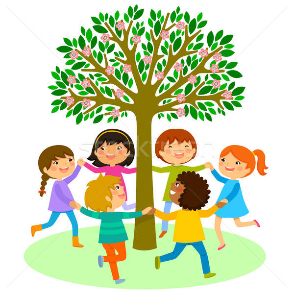 kids dance around a tree Stock photo © ayelet_keshet