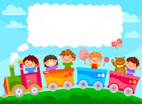 Kinderen trein kopiëren tekst kleurrijk ruimte Stockfoto © ayelet_keshet