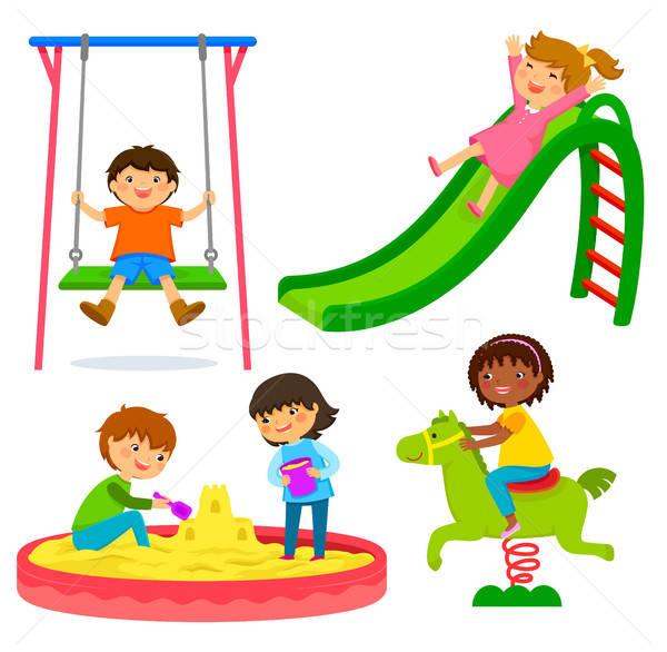 Stok fotoğraf: çocuklar · oyun · alanı · ayarlamak · oynayan · çocuklar · mutlu · arkadaşlar