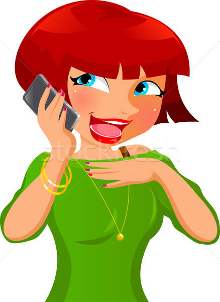 携帯電話 幸せな女の子 話し 少女 都市 携帯 ストックフォト © ayelet_keshet