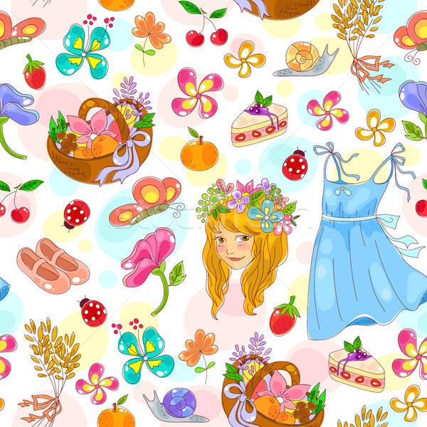 Temprano verano patrón símbolos primavera Foto stock © ayelet_keshet