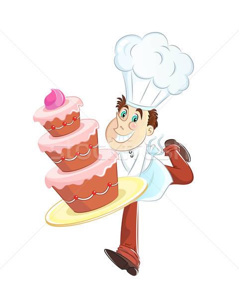 パン ケーキ 幸せ を実行して ビッグ 誕生日ケーキ ストックフォト © ayelet_keshet