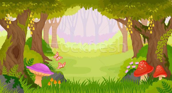 Desenho Animado Fantasia Floresta Brilhante Conto De