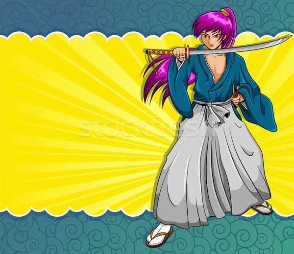 Manga samurajów stylu kolorowy elementy Zdjęcia stock © ayelet_keshet