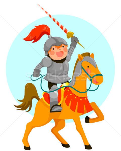 Cartoon ridder cute paardrijden paard glimlachend Stockfoto © ayelet_keshet
