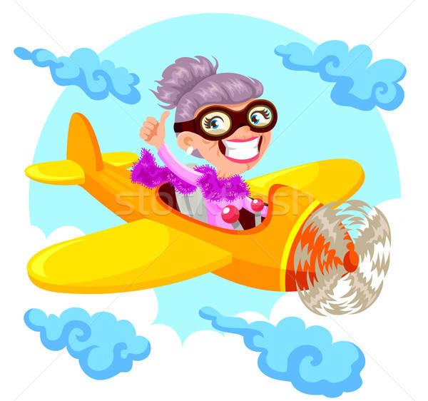 おばあちゃん パイロット 漫画 老婦人 飛行 飛行機 ストックフォト © ayelet_keshet