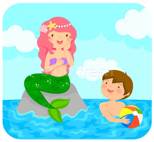 Stock photo: Mermaid and a boy
