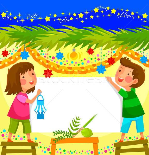 Crianças decorado cabine menina feliz Foto stock © ayelet_keshet