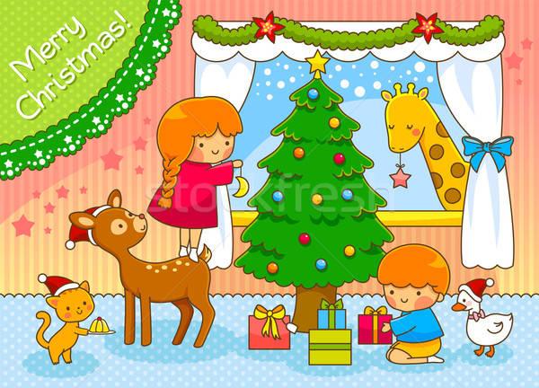 Сток-фото: дети · животные · Рождества · Cute · рождественская · елка