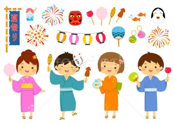 Japán nyár fesztivál szett aranyos gyerekek Stock fotó © ayelet_keshet