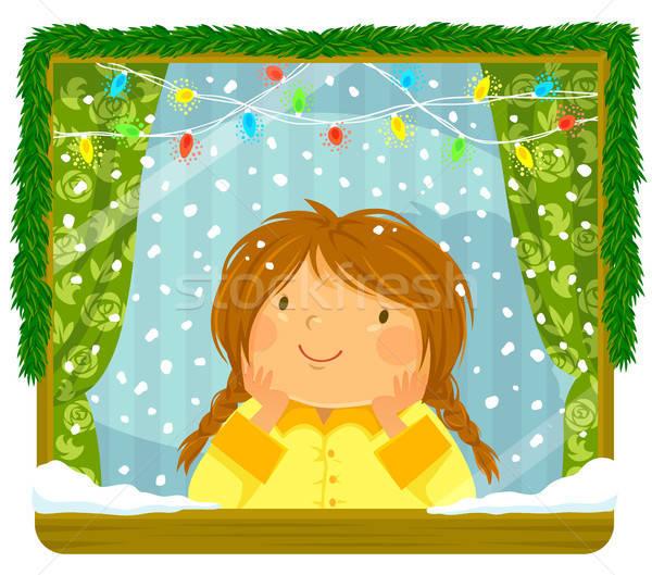 Lány néz hó ablak kislány karácsony Stock fotó © ayelet_keshet